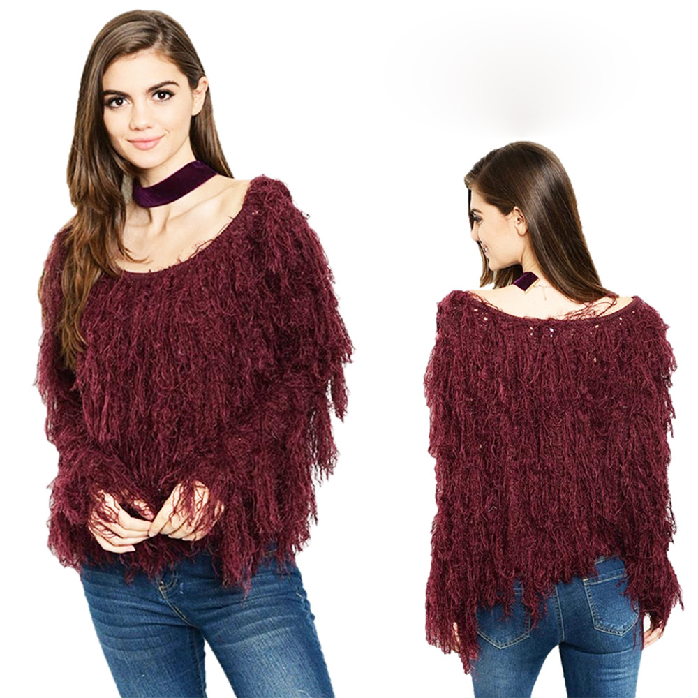 BOHO Burgundy Faux Fur Wool Blend Shaggy Fringed Pullover Sweater Top S689021