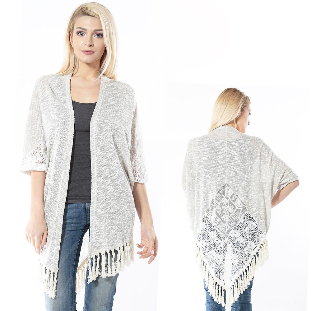 Bohemian Hippy Boho Open Front Ivory Tweed Lace Tassel Sweater Cardigan AJ0254
