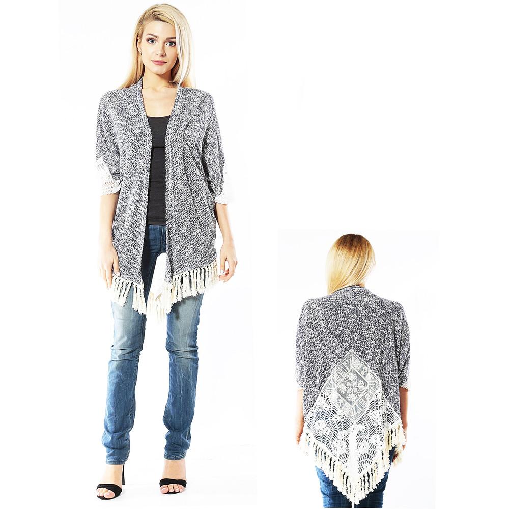 Navy Bohemian Boho Gypsy Hippie Tweed Lace Fringe Open Sweater Cardigan - AJ0254