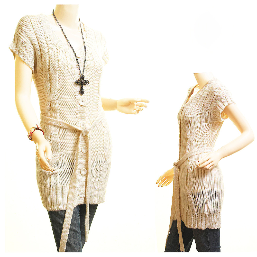 Haute Boho Ivory Mohair Cable Knit Belted Sweater Cardigan Tunic Top - 620