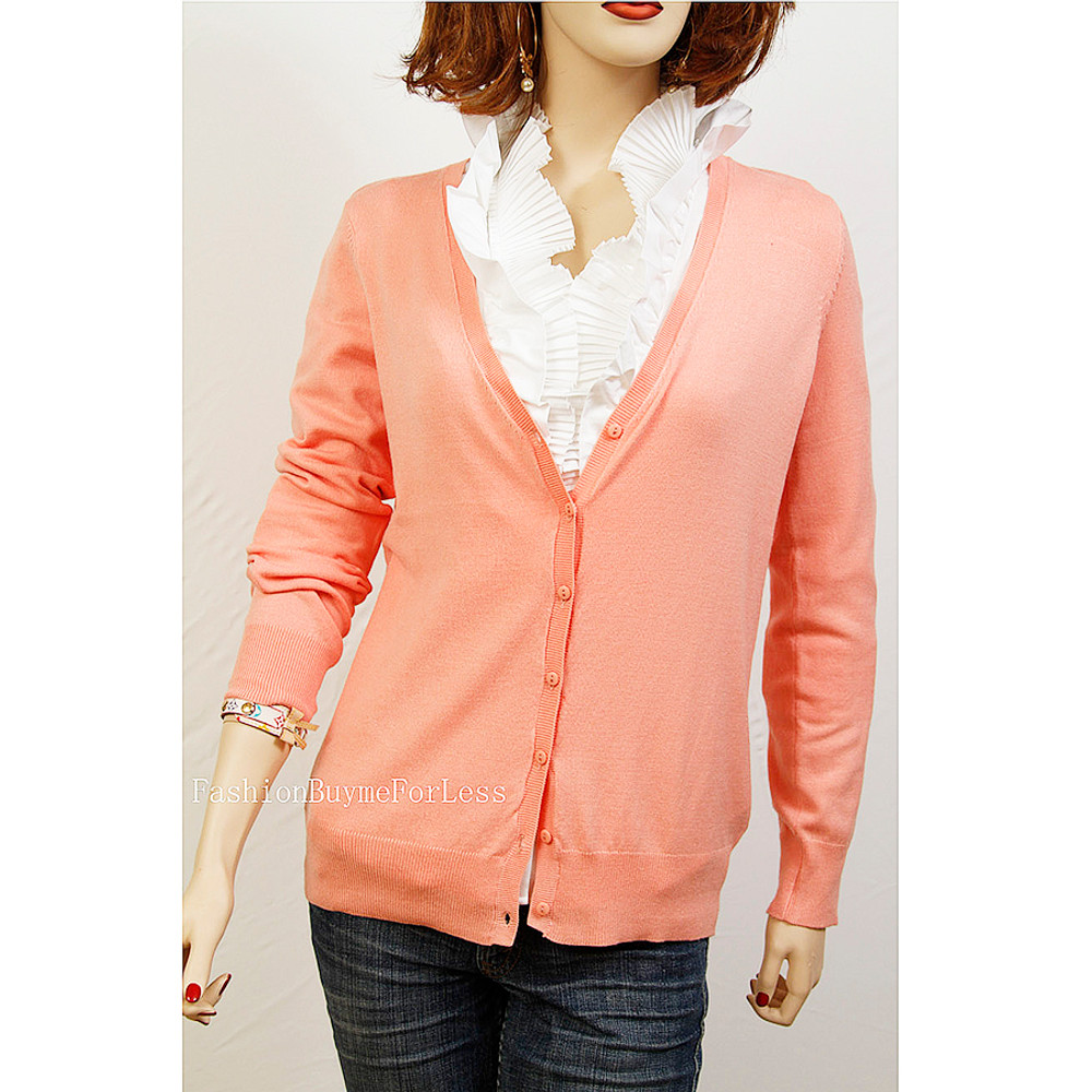 Easy Button Down V-Neck SILK Sweater Cardigan Top - F10SW03
