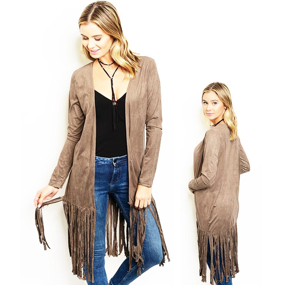 Boho Western Vintage Hippy Mocha Suede Fringe Long Sleeve Cardigan - J321039