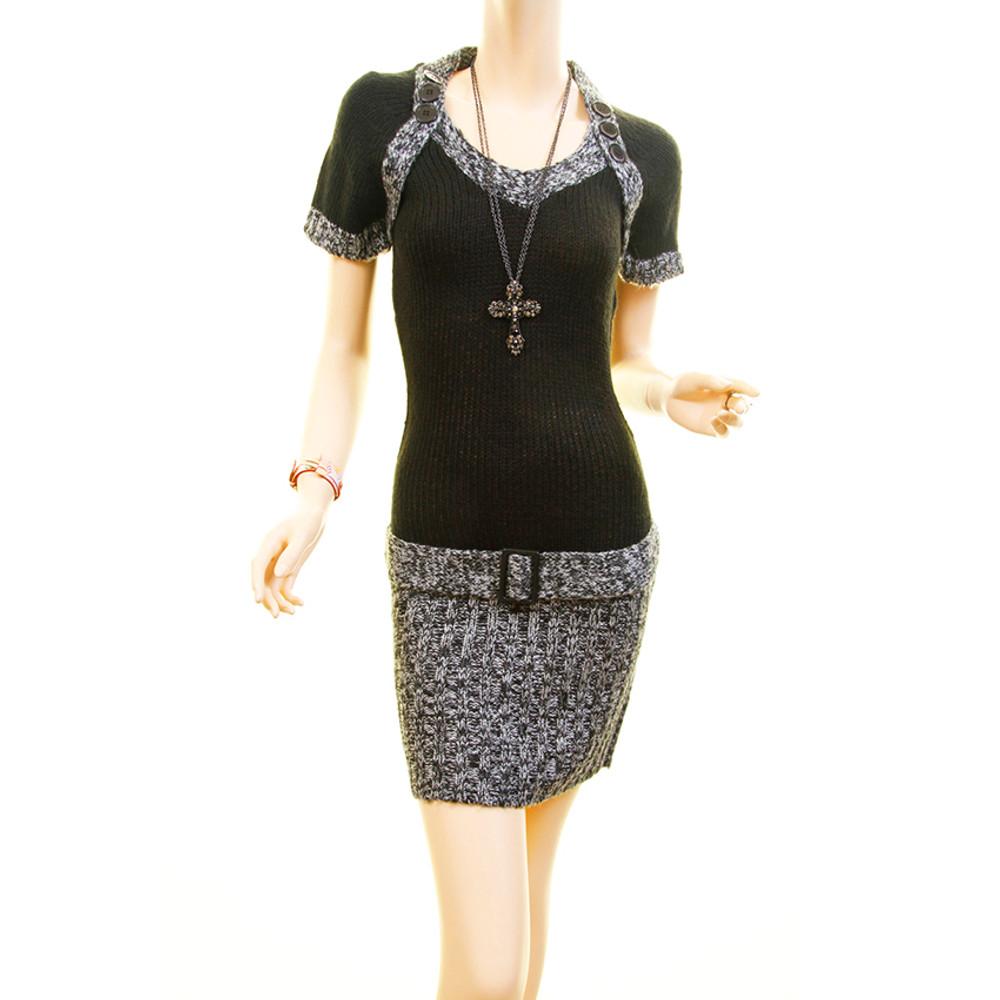 Tweed Knit Rib Hem Fitted Bodycon Sweater Dress - RN951111