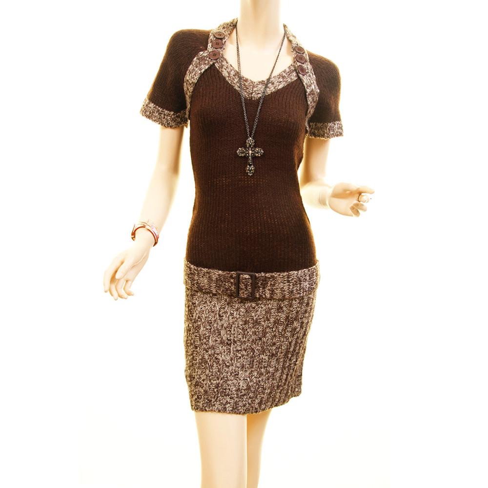 Women Tweed Knit Rib Hem Fitted Bodycon Sweater Dress - RN951111