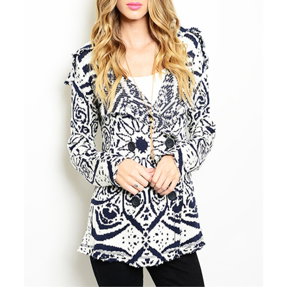 Urban Fair Isle Nordic Double Breasted Knit Fringed Sweater Jacket S91711