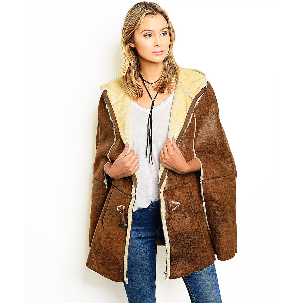 Western Rodeo Faux Shearling Leather Toggle Hooded Cape Poncho Jacket Coat - 153448