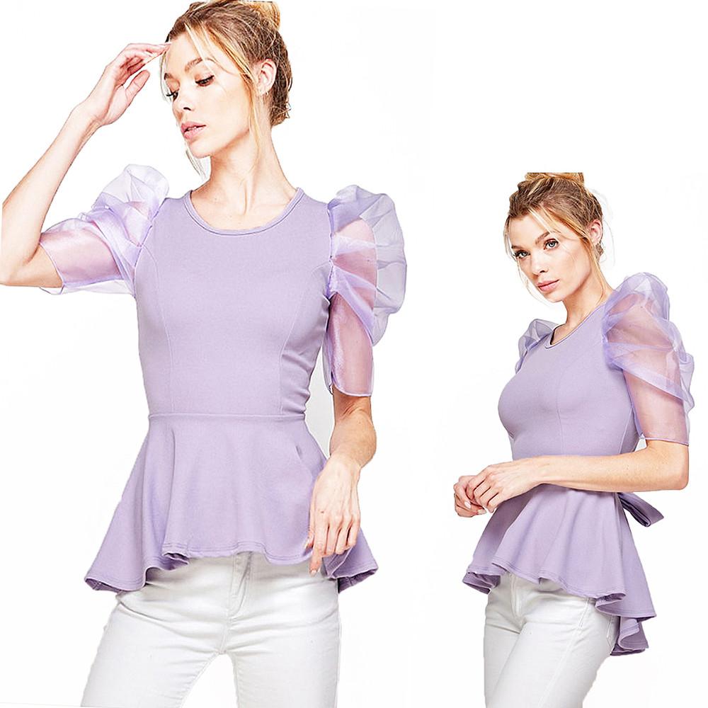 Retro Romance Sheer Puff Sleeve Lavender Scoop Neck High Low Peplum Top - WT6242