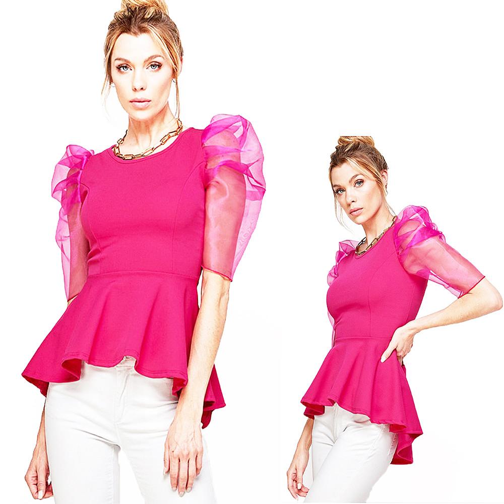 Retro Romance Sheer Puff Sleeve Fuchsia Scoop Neck High Low Peplum Top - WT6242