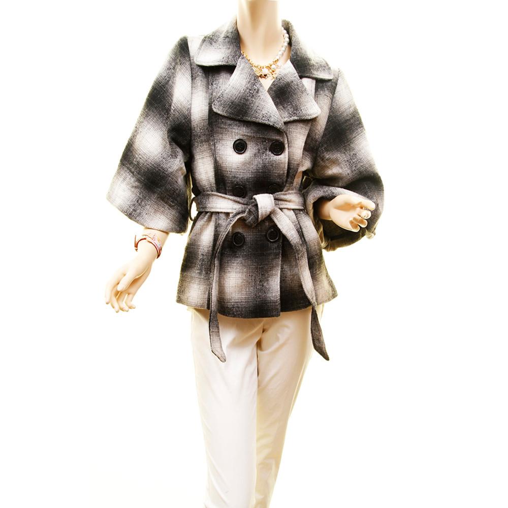 Retro Wool Plaid Woven Bell Sleeve Drop Shoulder Jacket Coat - 80601MBC