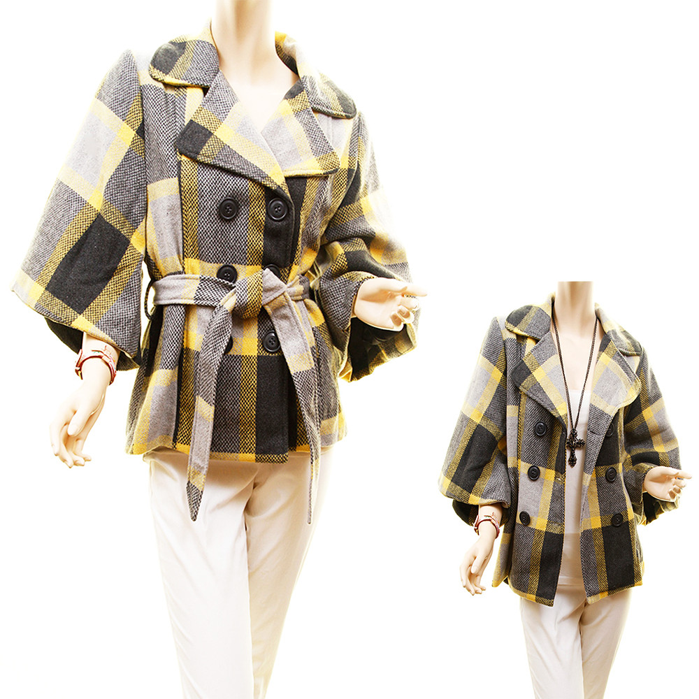 Retro Wool Retro Plaid Woven Bell Sleeve Drop Shoulder Jacket Coat - 80601MBC