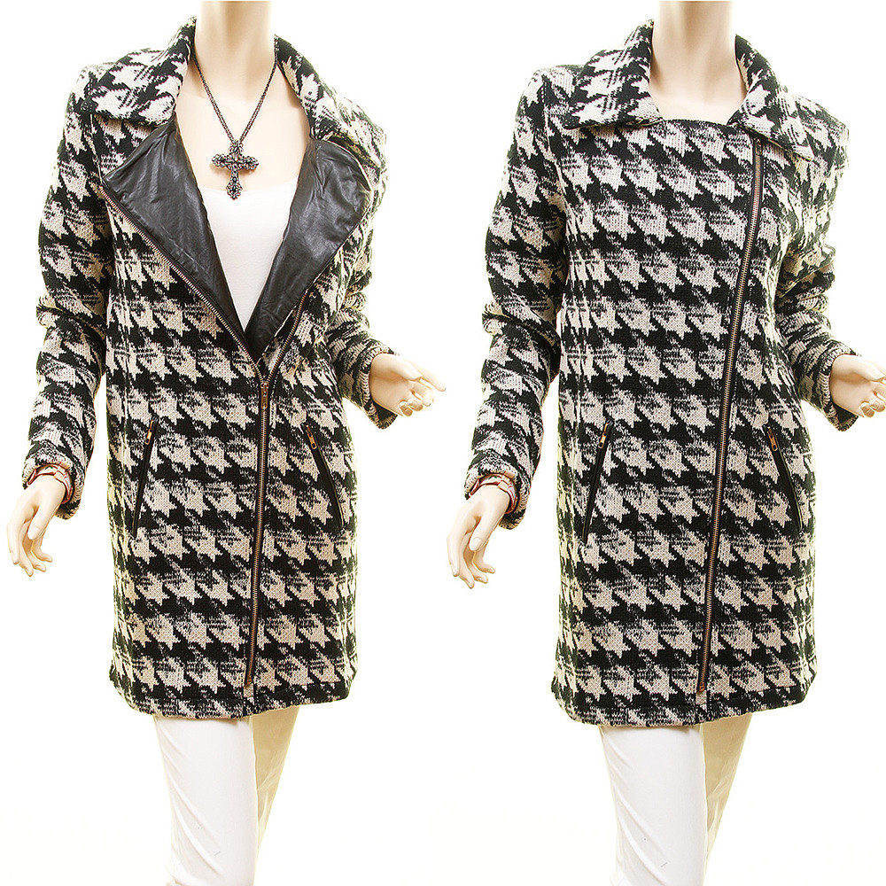 Houndstooth Wool Tweed Chunky Sweater Jacket Outerwear Coat - 5474J3F