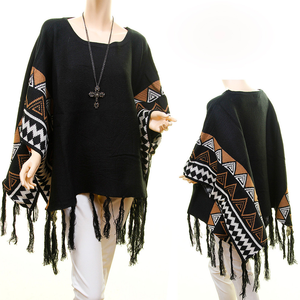 Western Texas California Jacquard Cowgirl Wool knit Fringed Oversized Sweater Poncho - D8211BK