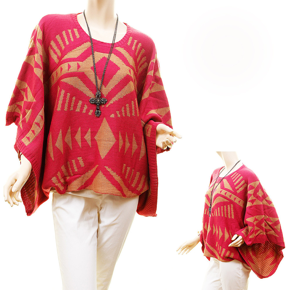 Cowgirl Pullover Wool Knit Oversized Magenta Poncho Sweater Top - KT5421