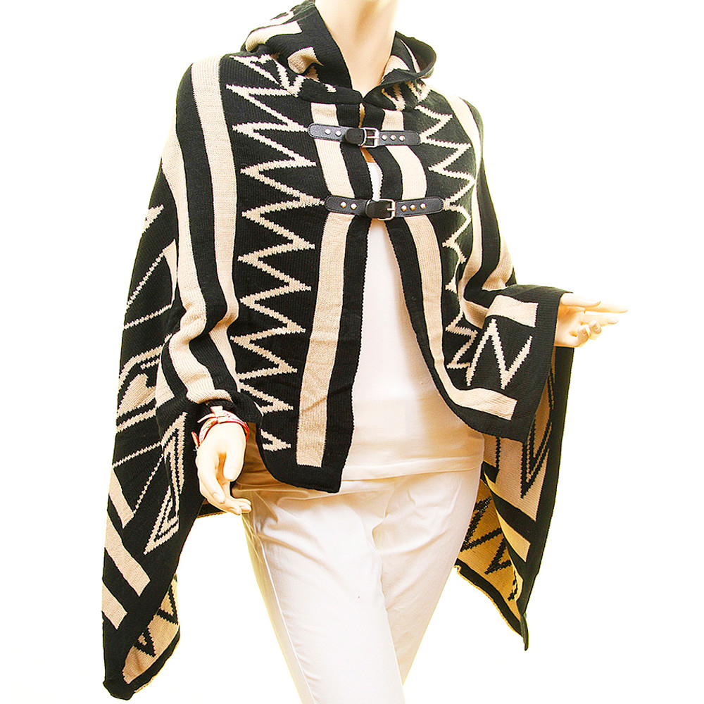 Geometric Leather Belted Open Front Hooded Oversized Wool Sweater Poncho - D7211