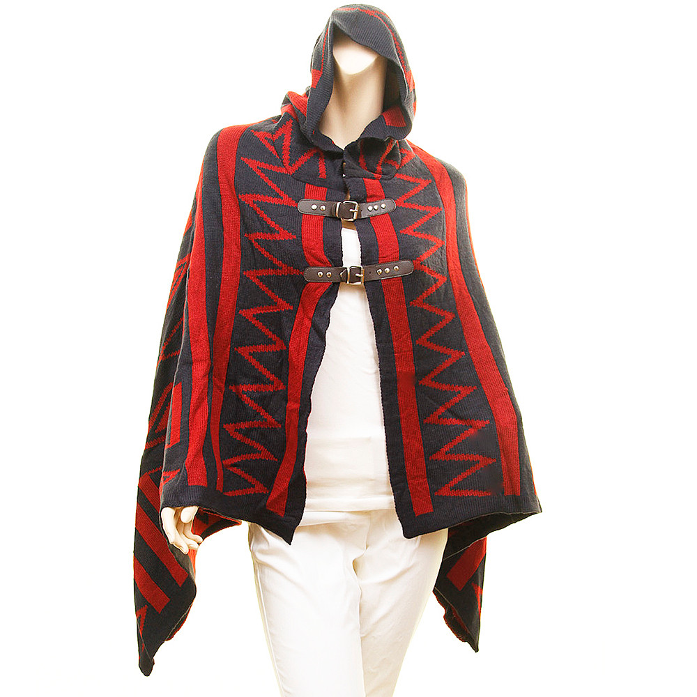 Geometric Leather Belted Hooded Oversize Wool Sweater Poncho - D7211