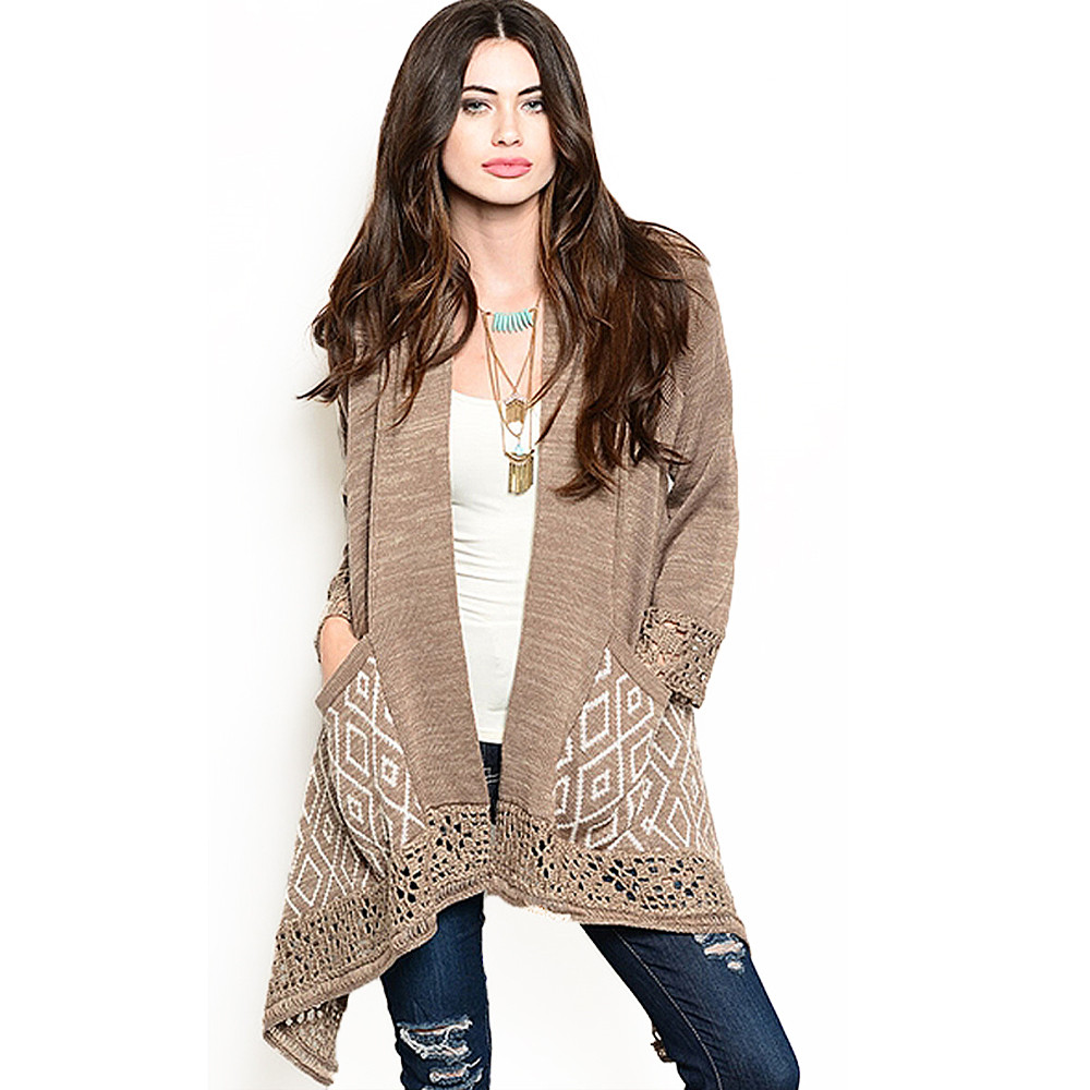 BOHO Crochet Knit Open Front Asymmetric Flyaway Sweater Cardigan GWR7371-MOCHA