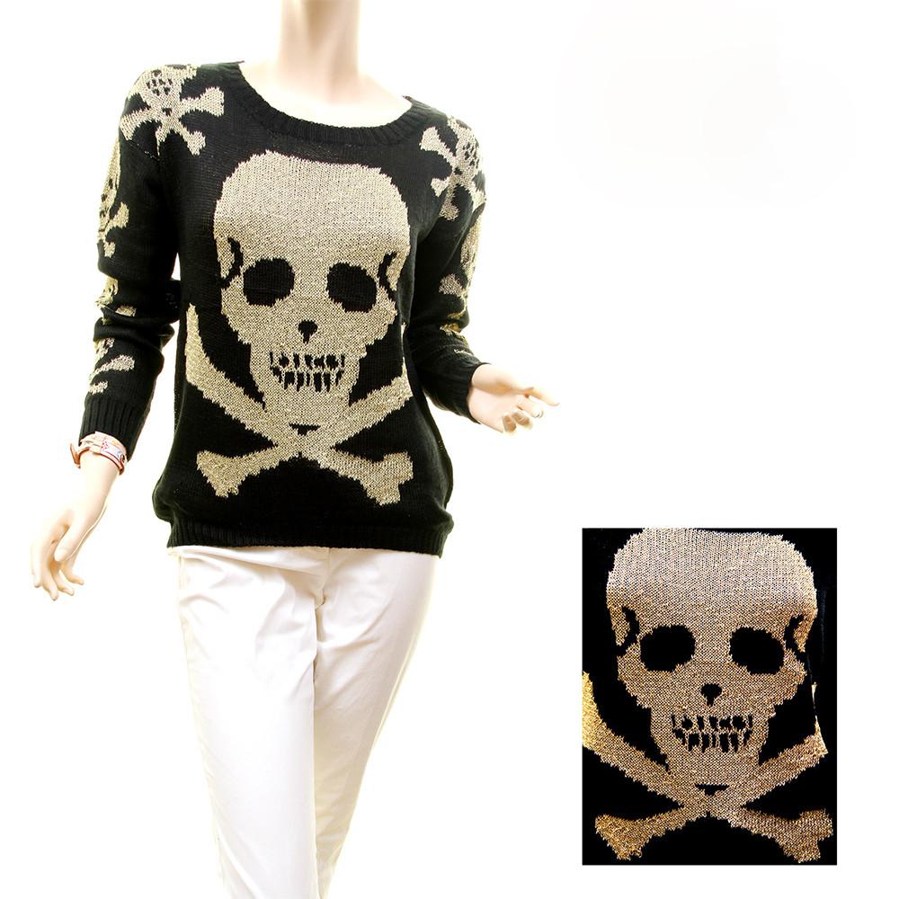 Gothic Steampunk Halloween Skull Rock Gold Metallic Knit Sweater Top - MD10