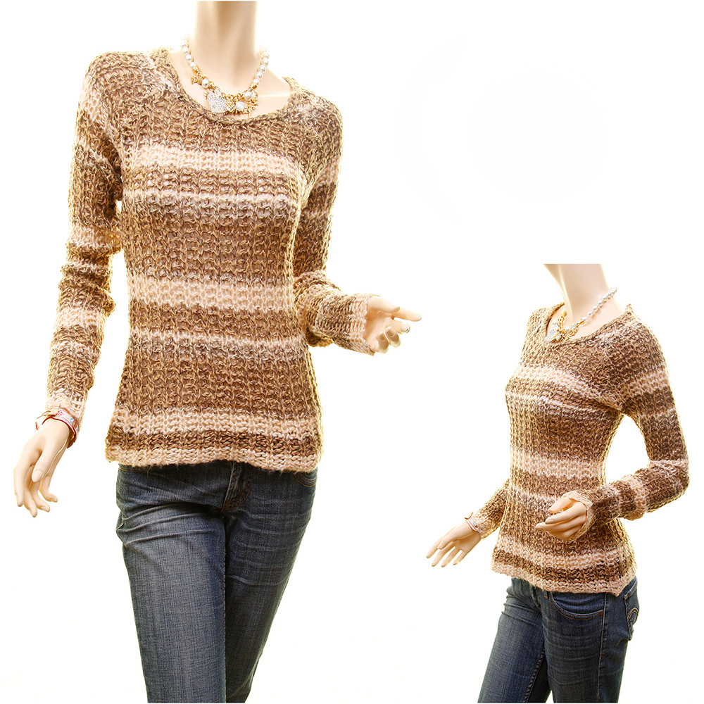 Open Stitch Crochet Striped Tweed Cable Knit Fitted Sweater Top - S840570225D