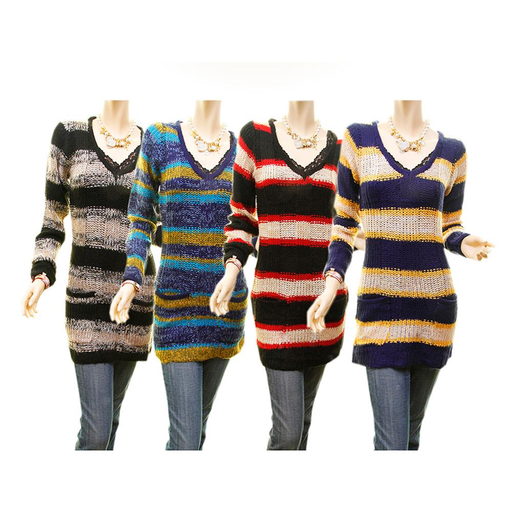Retro V Neck Striped Mix Yarn Knit Tunic Crochet Sweater