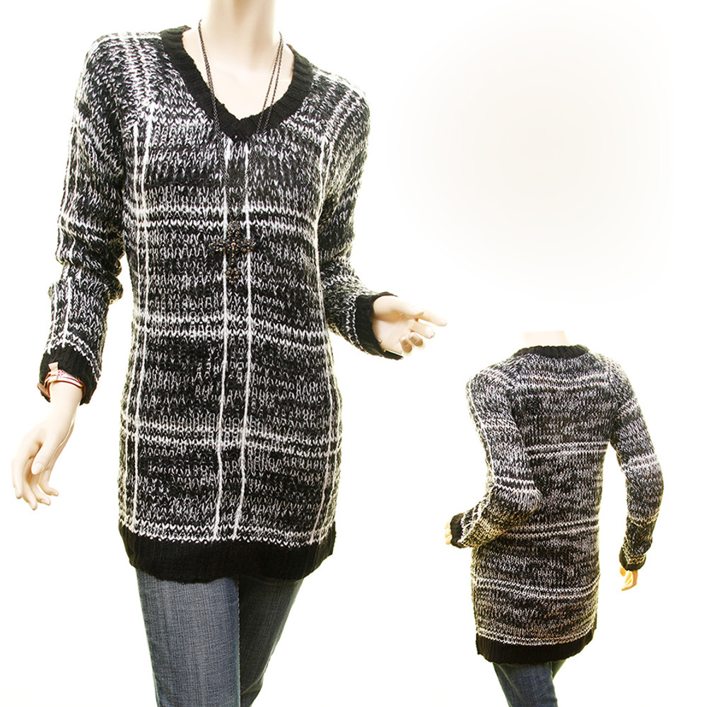 Retro Pullover Mix Yard Plaid Tweed Sweater Knit Fitted Tunic Top - 869