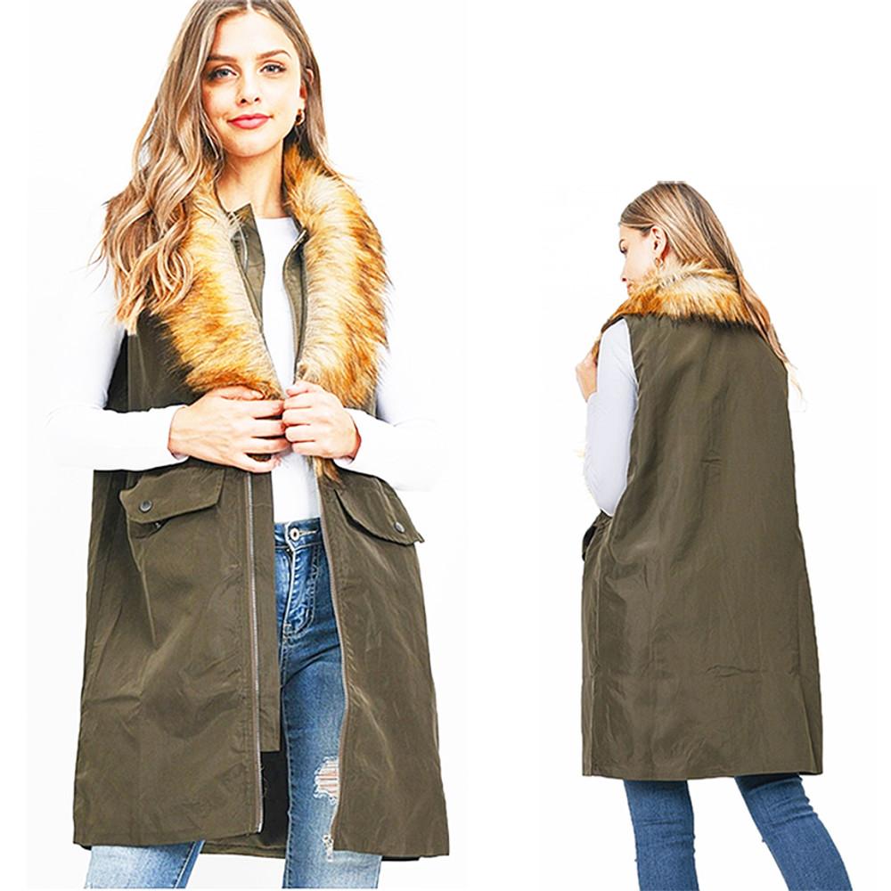 Olive Faux Fur Oversized British Hunting Jacket Windbreaker Vest - V6510121