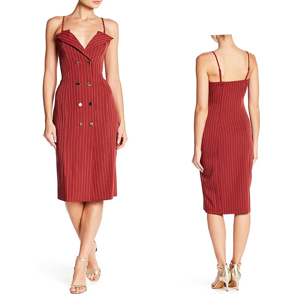 V Neck Notch Collar Double Breasted RED Stripes Dress S M L - LUX57311-RED
