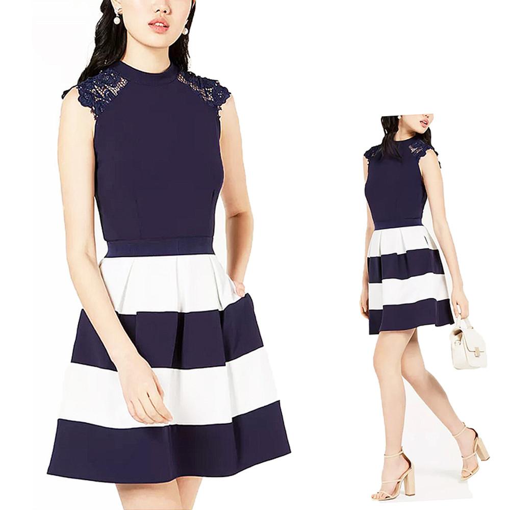Retro Navy Ivory Bold Stripes Lace Trim  Fit & Flare Dress Gown S M L XL - JA13553DNE