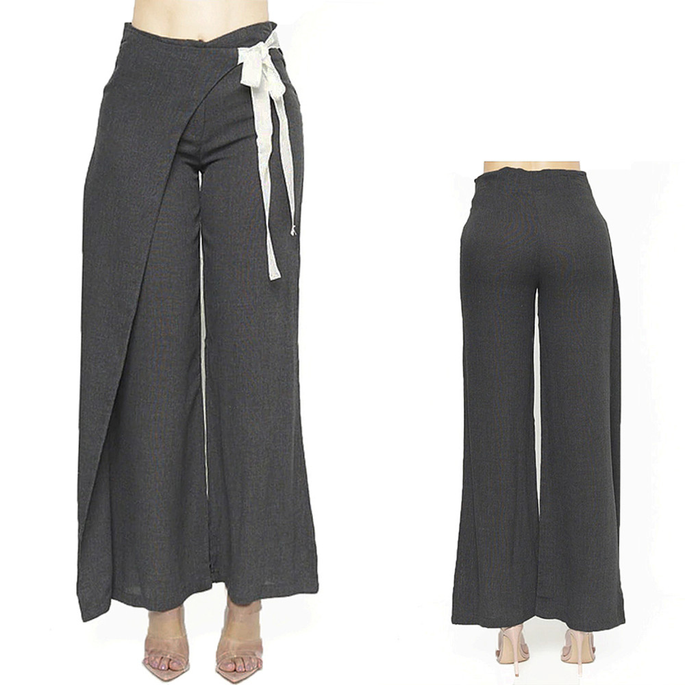 Women Lagenlook Gray Cotton Linen Retro Overlay Wide Leg Pants S M L - BP00281