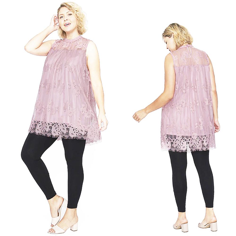 PLUS Retro Babydoll Sleeveless Lined Lace Overlay Tunic Top 1X 2X 3X - T16856X