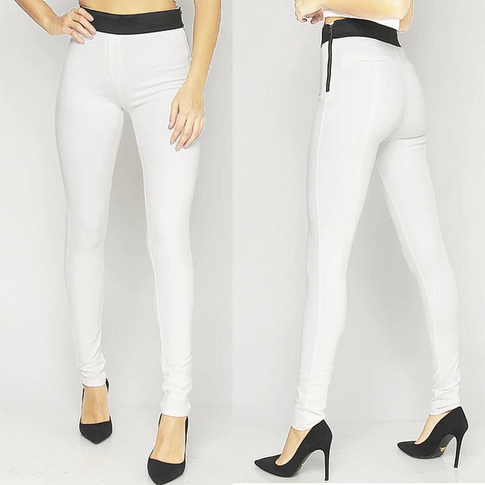 Women White Skinny Ankle Elastic Waist Cottony Denim Jeans Pants S M L - P48024