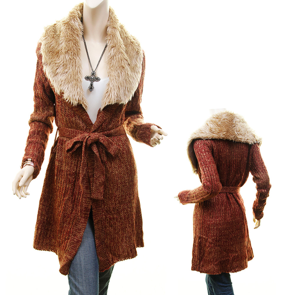 Faux Fur Collar Open Front Belt Tweed Knitted Cardigan Sweater Coat - S07511