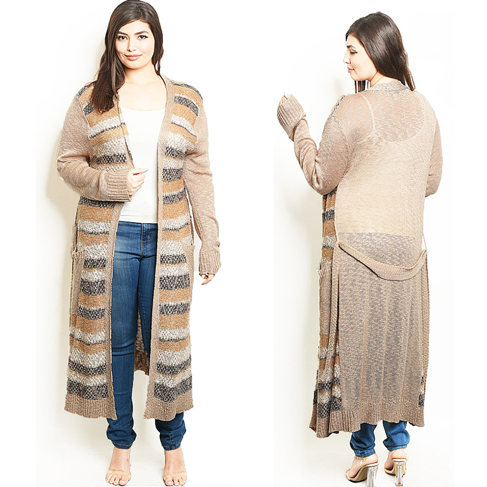 PLUS SIZE Open Front Knitted Maxi Long Belted Duster Sweater Cardigan - C9211X
