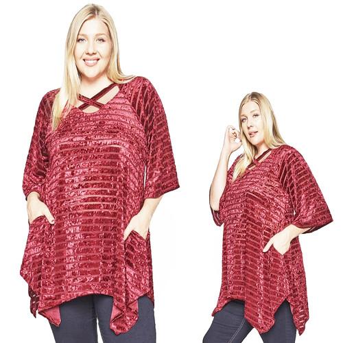 Christmas Velvet Silk Tunic Top