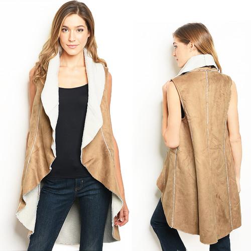 70s Faux Suede Fleece Lamb Long Jacket Vest - V7545
