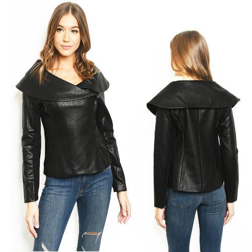 Italian Vegan Faux Lambskin Leather Wide Collar Lined Goth MOTO Jacket -J45