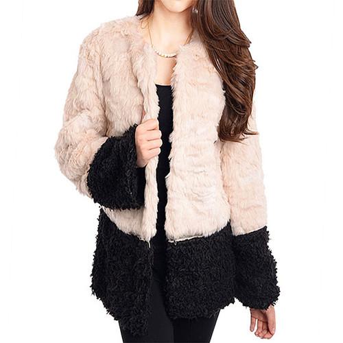 Two Tone VTG Babydoll BOHO Faux Lamb Wool Alpaca Shaggy Furry Fur Jacket Coat AJ2065A