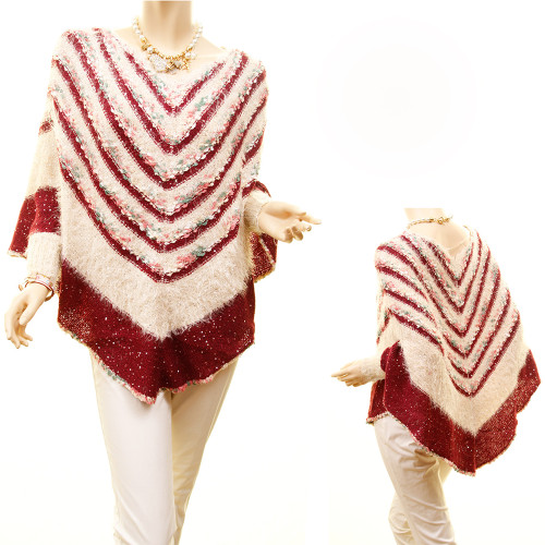 Retro Striped Chevy Knit Faux Fur Sequins Outerwear Sweater Poncho - 0569