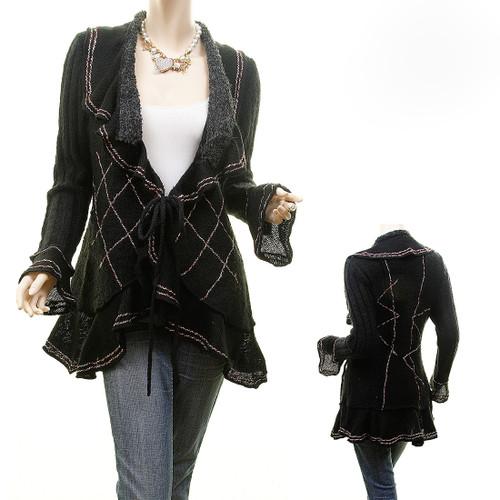 Vintage Look Wool Stitch Tweed Ruffle Drape Cascade Cardigan Sweater Top S83188