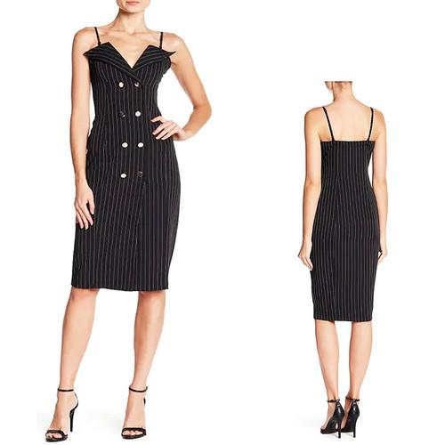 Double Breasted V Neck Notch Collar Black Stripes Dress S M L - LUX57311-BLK