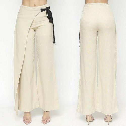 Women Lagenlook Beige Cotton Linen Retro Overlay Wide Leg Pants S M L - BP00281