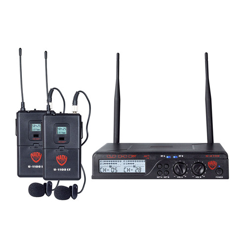 NADY U-2100LT Dual 100-Channel UHF Wireless Lapel Microphone System (Refurbished)- FREE SHIPPING