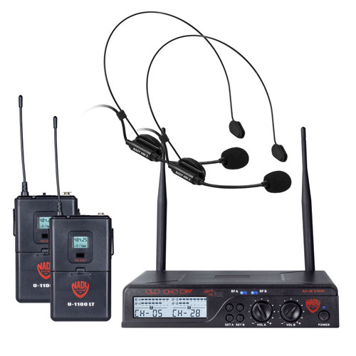 NADY U-2100-HM3 Dual 100-Channel UHF Wireless Headset Microphone System (Refurbished)  - FREE SHIPPING