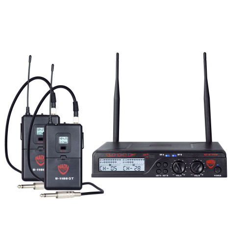 NADY U-2100GT Dual 100-Channel UHF Guitar/Instrument Wireless Microphone System (Refurbished) - FREE SHIPPING