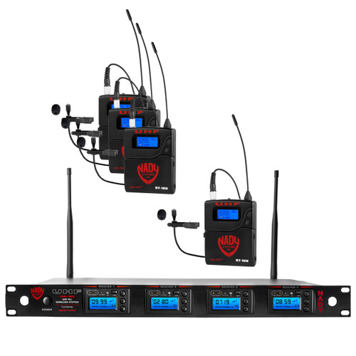 4W-1KU-LT - Four transmitter 1000-channel UHF Lapel Wireless System - FREE SHIPPING