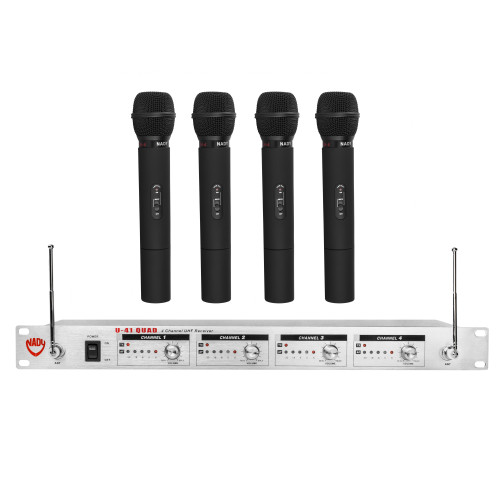 U-41-HT- Quad UHF Wireless Handheld Microphone System - FREE SHIPPING