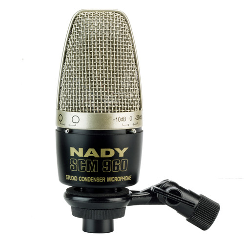 Studio condenser microphone with selectable attenuation pad and omni/cardioid pattern