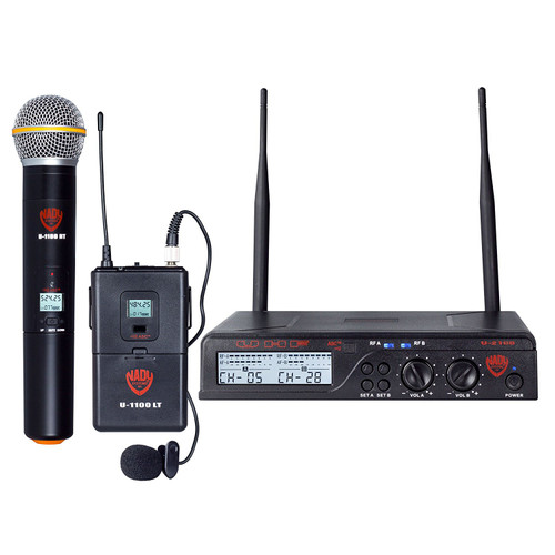 Nady U-2100 Dual HTLT 200-Channel UHF Wireless Handheld & Lavalier Microphone System