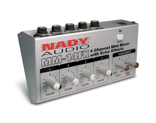 Nady MM-14 FX 4-Channel Mini Mixer w/ Delay + PAD-1 Power Supply Adapter (Manufacturer Refurbished)