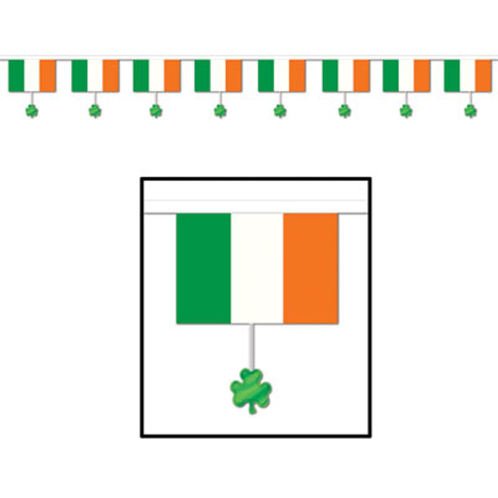 Irish Flags & Shamrock Banner