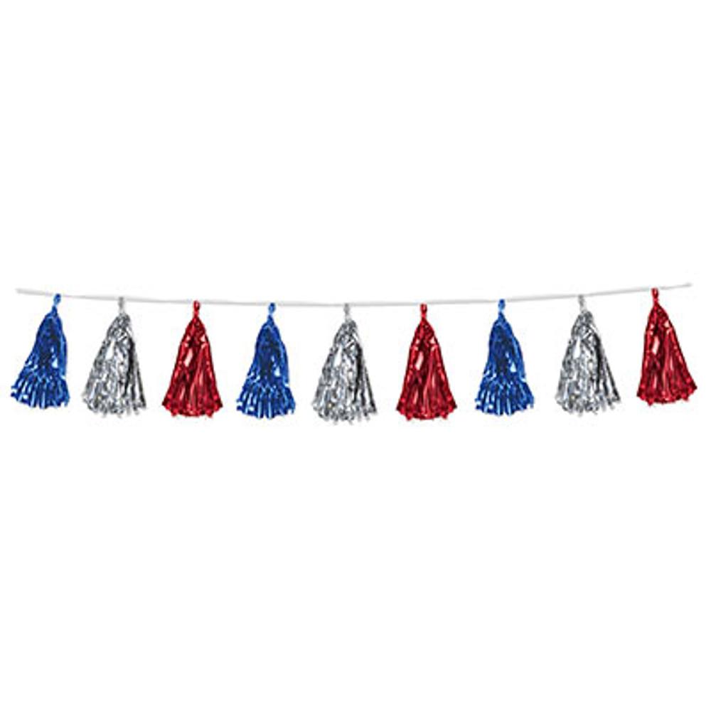 Garland Metallic Tassel - Red, Silver & Blue